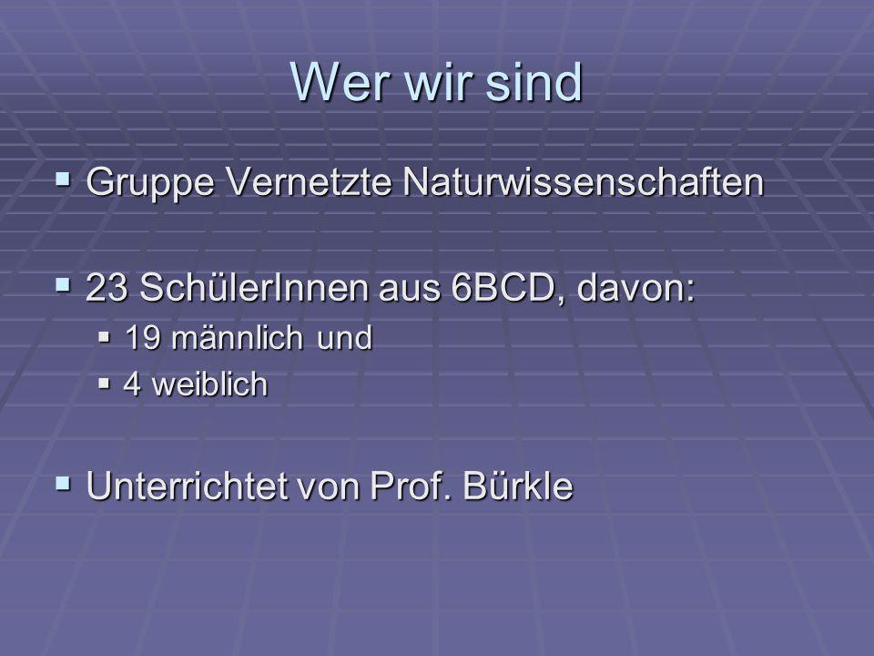 Wer wir sind Gruppe Vernetzte Naturwissenschaften Gruppe Vernetzte Naturwissenschaften 23 SchülerInnen aus 6BCD, davon: 23 SchülerInnen aus 6BCD, davon: 19 männlich und 19 männlich und 4 weiblich 4 weiblich Unterrichtet von Prof.