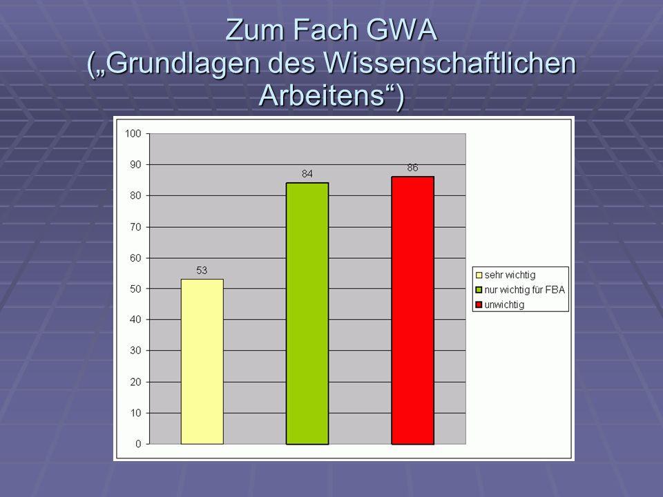 Zum Fach GWA (Grundlagen des Wissenschaftlichen Arbeitens)