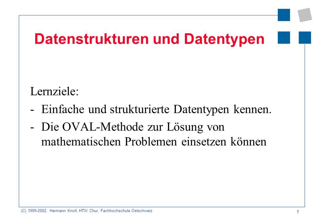 1 (C) 1999-2002, Hermann Knoll, HTW Chur, Fachhochschule Ostschweiz Datenstrukturen und Datentypen Lernziele: -Einfache und strukturierte Datentypen kennen.