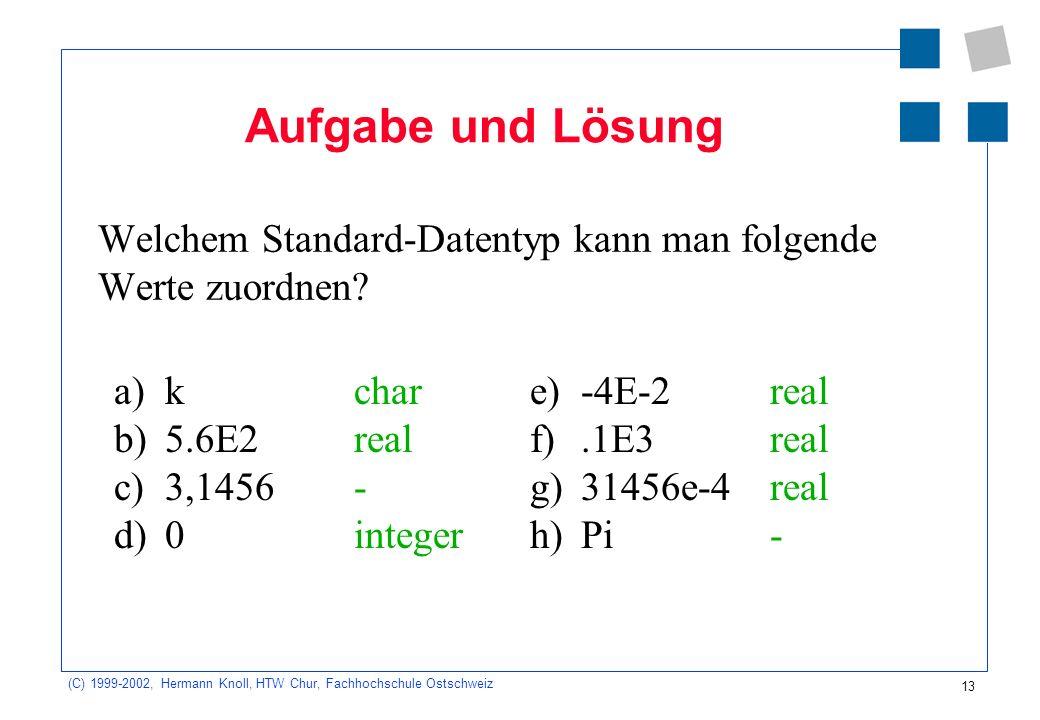 13 (C) 1999-2002, Hermann Knoll, HTW Chur, Fachhochschule Ostschweiz Aufgabe und Lösung Welchem Standard-Datentyp kann man folgende Werte zuordnen.