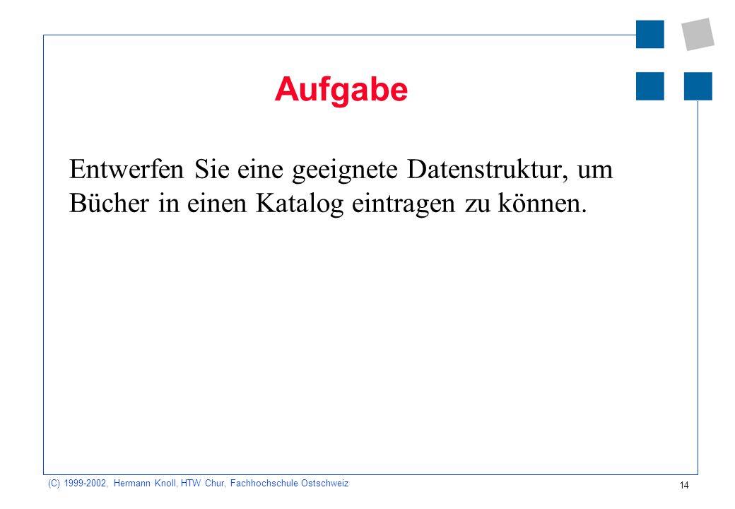 14 (C) 1999-2002, Hermann Knoll, HTW Chur, Fachhochschule Ostschweiz Aufgabe Entwerfen Sie eine geeignete Datenstruktur, um Bücher in einen Katalog eintragen zu können.