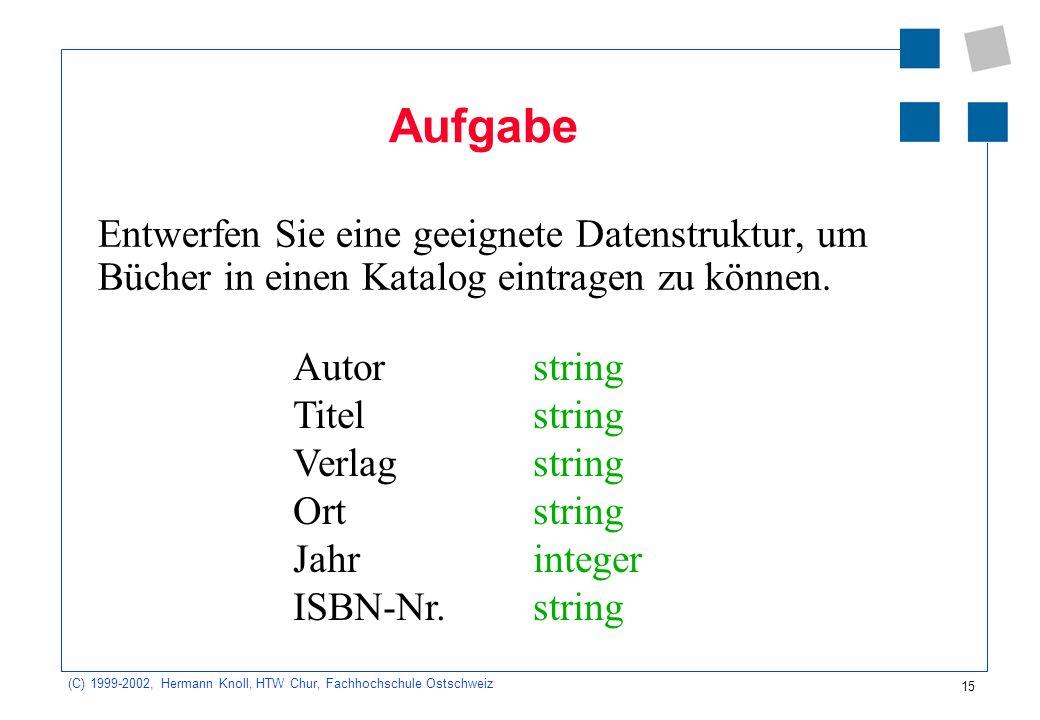 15 (C) 1999-2002, Hermann Knoll, HTW Chur, Fachhochschule Ostschweiz Aufgabe Entwerfen Sie eine geeignete Datenstruktur, um Bücher in einen Katalog eintragen zu können.