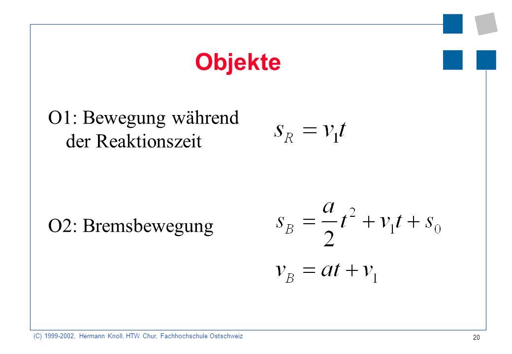 20 (C) 1999-2002, Hermann Knoll, HTW Chur, Fachhochschule Ostschweiz Objekte O1: Bewegung während der Reaktionszeit O2: Bremsbewegung