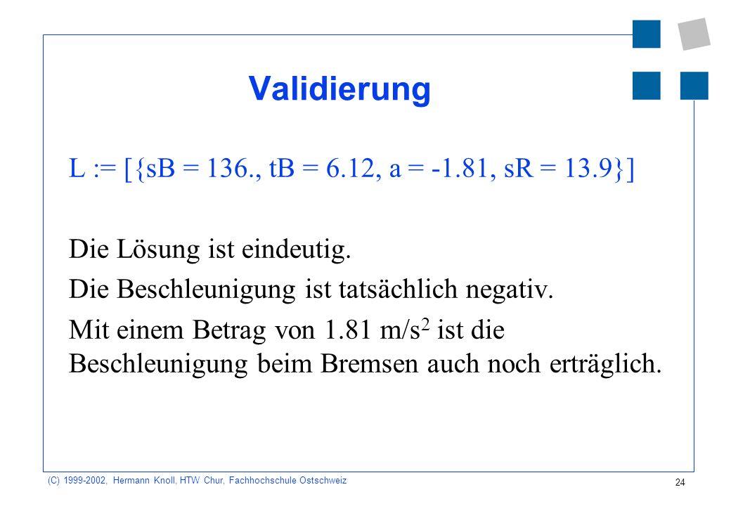24 (C) 1999-2002, Hermann Knoll, HTW Chur, Fachhochschule Ostschweiz Validierung L := [{sB = 136., tB = 6.12, a = -1.81, sR = 13.9}] Die Lösung ist eindeutig.