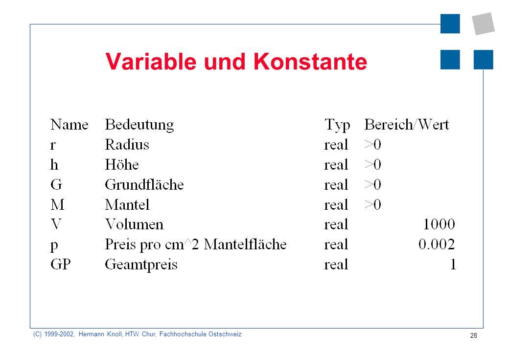 28 (C) 1999-2002, Hermann Knoll, HTW Chur, Fachhochschule Ostschweiz Variable und Konstante