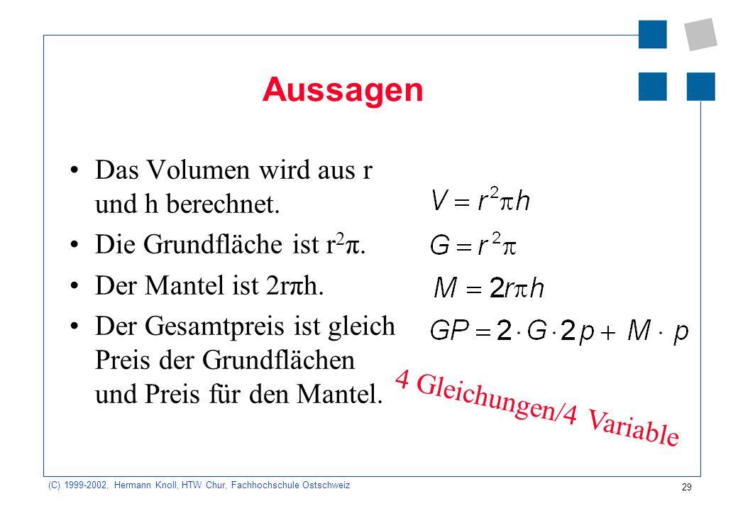 29 (C) 1999-2002, Hermann Knoll, HTW Chur, Fachhochschule Ostschweiz Aussagen Das Volumen wird aus r und h berechnet.