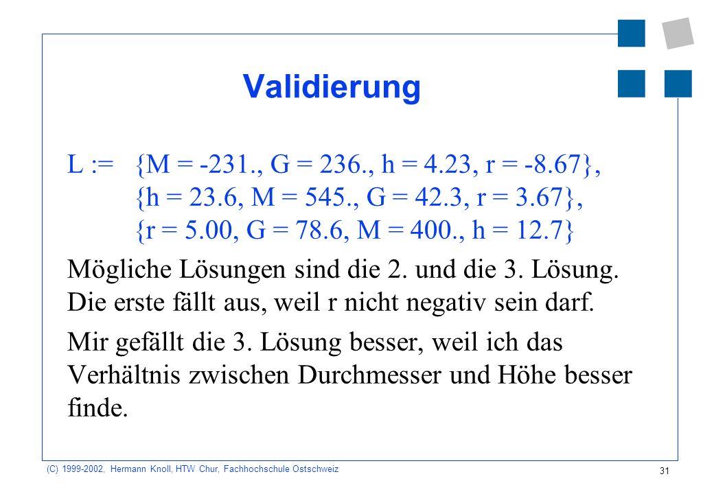 31 (C) 1999-2002, Hermann Knoll, HTW Chur, Fachhochschule Ostschweiz Validierung L := {M = -231., G = 236., h = 4.23, r = -8.67}, {h = 23.6, M = 545., G = 42.3, r = 3.67}, {r = 5.00, G = 78.6, M = 400., h = 12.7} Mögliche Lösungen sind die 2.