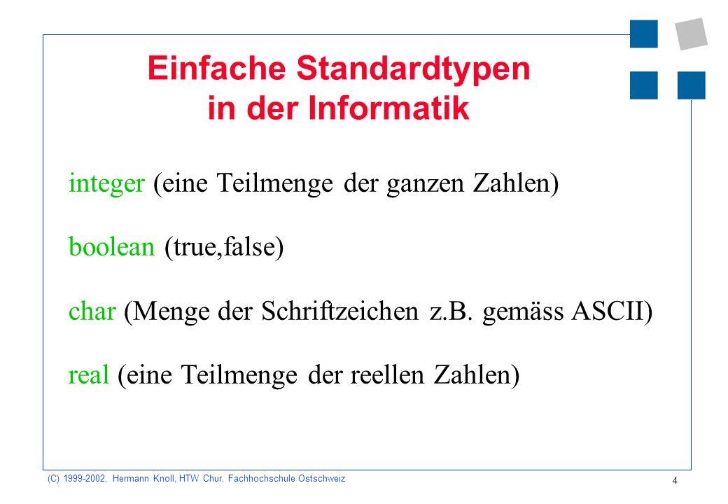 4 (C) 1999-2002, Hermann Knoll, HTW Chur, Fachhochschule Ostschweiz Einfache Standardtypen in der Informatik integer (eine Teilmenge der ganzen Zahlen) boolean (true,false) char (Menge der Schriftzeichen z.B.