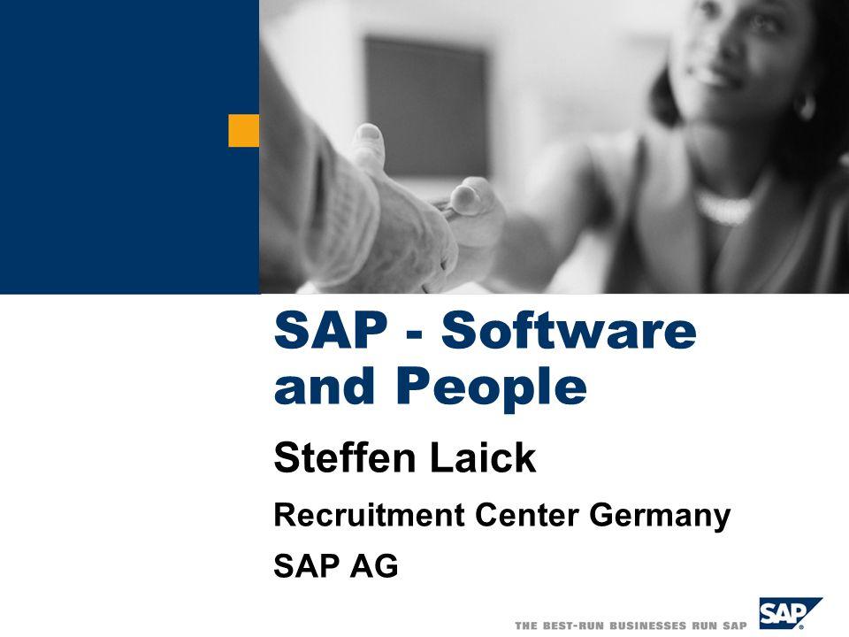 SAP AG 2005, Software and People, Steffen Laick / 22 Hoher Anspruch an die Personalentwicklung SAP GruppeDeutschland Geschlecht 30 % weiblich 70 % männlich 28 % weiblich 72 % männlich Durchschnittsalter 3739 Mitarbeiter < 40 J.