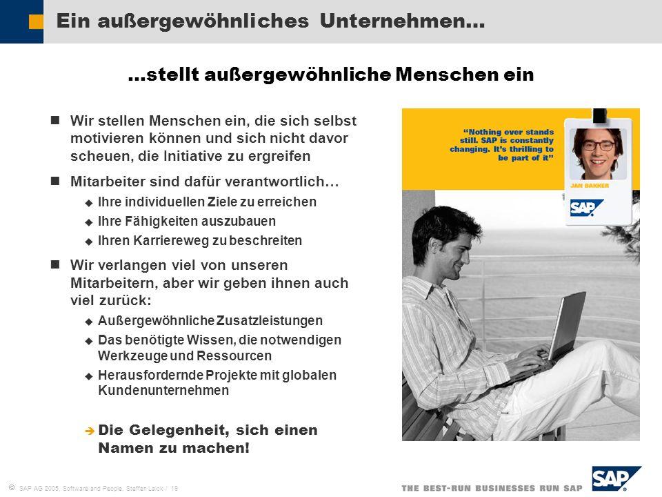 SAP AG 2005, Software and People, Steffen Laick / 19 Ein außergewöhnliches Unternehmen… Wir stellen Menschen ein, die sich selbst motivieren können un