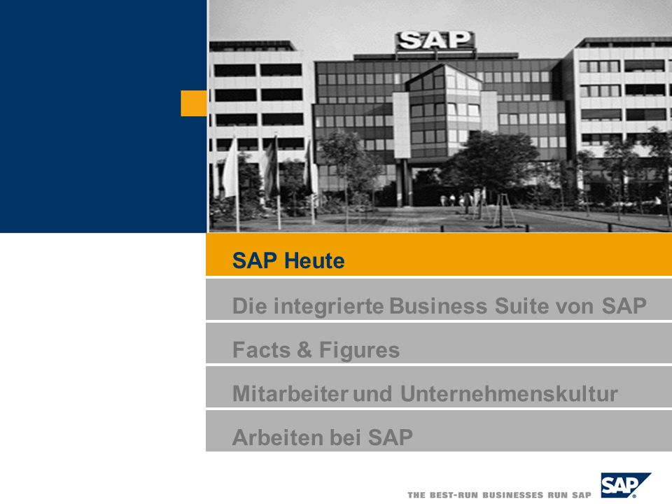 SAP Heute Die integrierte Business Suite von SAP Facts & Figures Mitarbeiter und Unternehmenskultur Arbeiten bei SAP