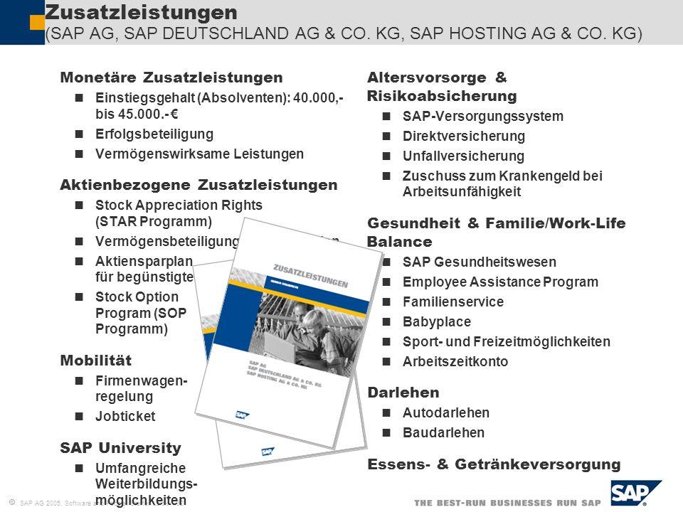 SAP AG 2005, Software and People, Steffen Laick / 32 Zusatzleistungen (SAP AG, SAP DEUTSCHLAND AG & CO. KG, SAP HOSTING AG & CO. KG) Monetäre Zusatzle