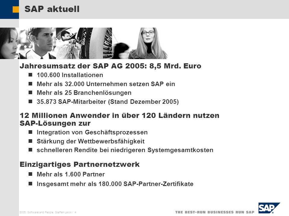 SAP AG 2005, Software and People, Steffen Laick / 4 SAP aktuell Jahresumsatz der SAP AG 2005: 8,5 Mrd. Euro 100.600 Installationen Mehr als 32.000 Unt