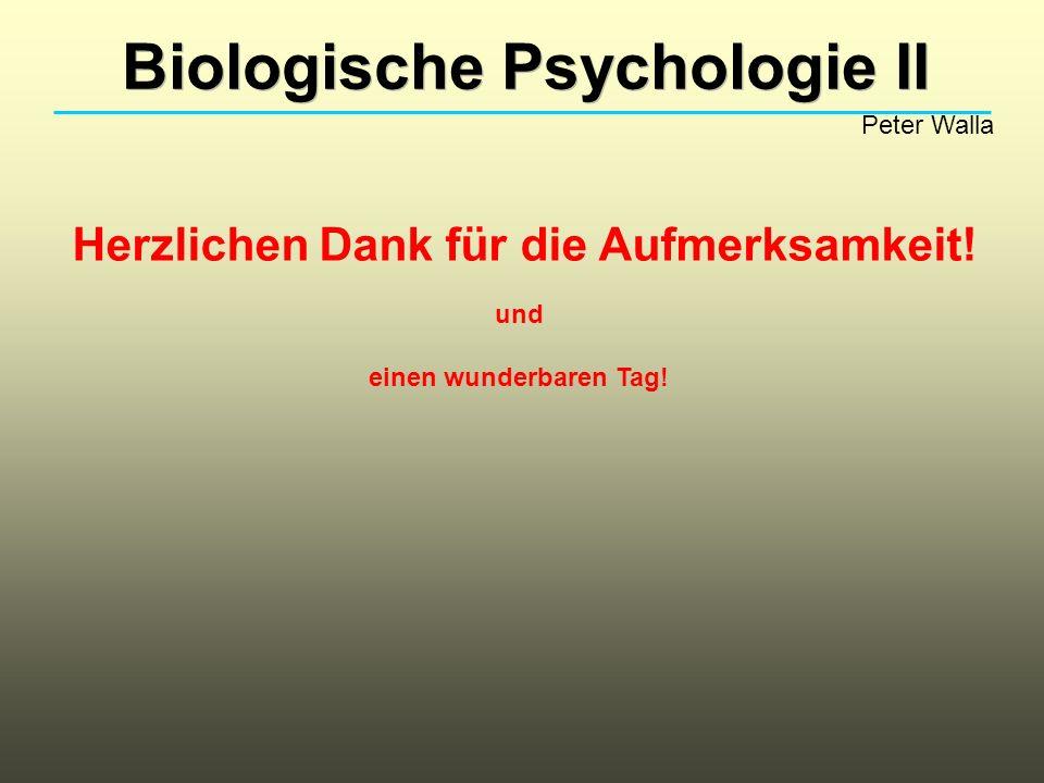 Biologische Psychologie II Peter Walla Herzlichen Dank für die Aufmerksamkeit! und einen wunderbaren Tag!