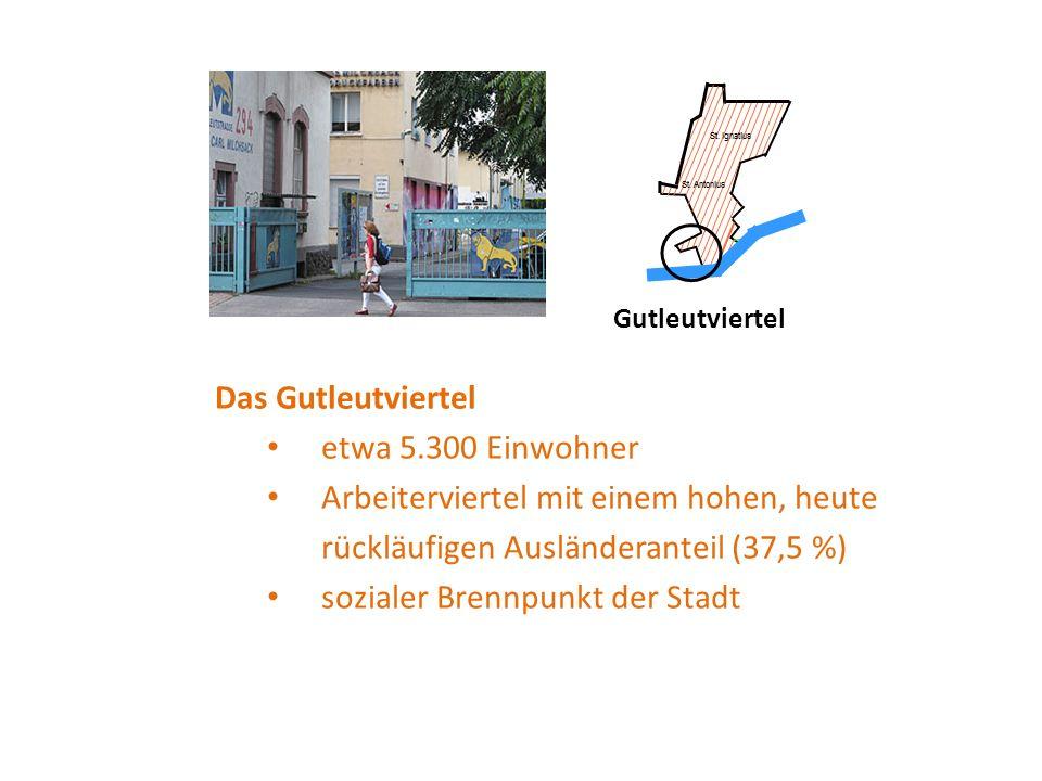 Gutleutviertel Das Gutleutviertel etwa 5.300 Einwohner Arbeiterviertel mit einem hohen, heute rückläufigen Ausländeranteil (37,5 %) sozialer Brennpunkt der Stadt