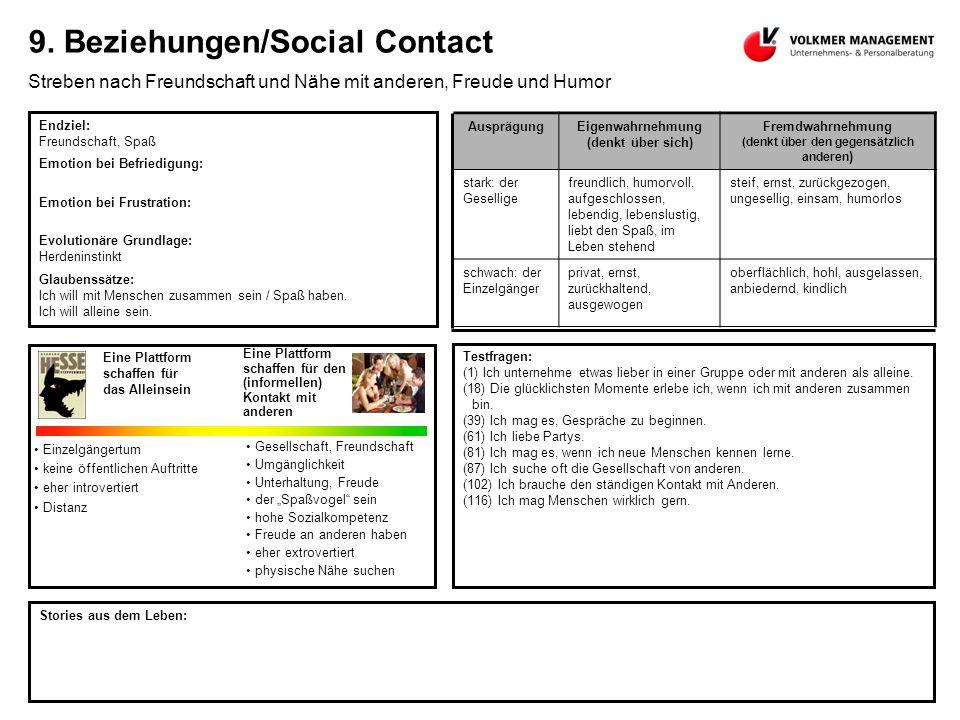 9. Beziehungen/Social Contact Streben nach Freundschaft und Nähe mit anderen, Freude und Humor Endziel: Freundschaft, Spaß Emotion bei Befriedigung: E