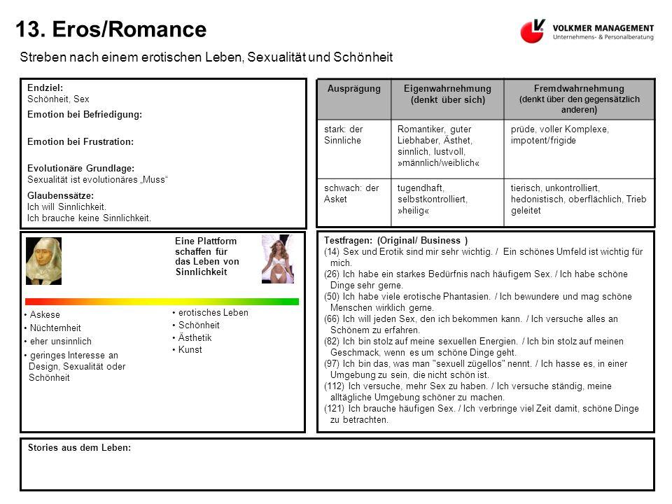13. Eros/Romance Streben nach einem erotischen Leben, Sexualität und Schönheit Endziel: Schönheit, Sex Emotion bei Befriedigung: Emotion bei Frustrati