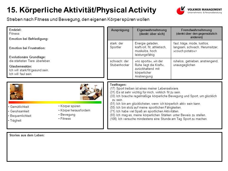 15. Körperliche Aktivität/Physical Activity Streben nach Fitness und Bewegung, den eigenen Körper spüren wollen Endziel: Fitness Emotion bei Befriedig