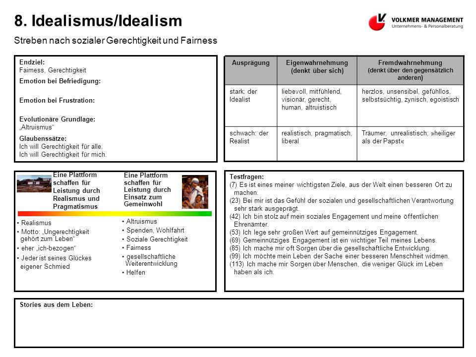 8. Idealismus/Idealism Streben nach sozialer Gerechtigkeit und Fairness Endziel: Fairness, Gerechtigkeit Emotion bei Befriedigung: Emotion bei Frustra