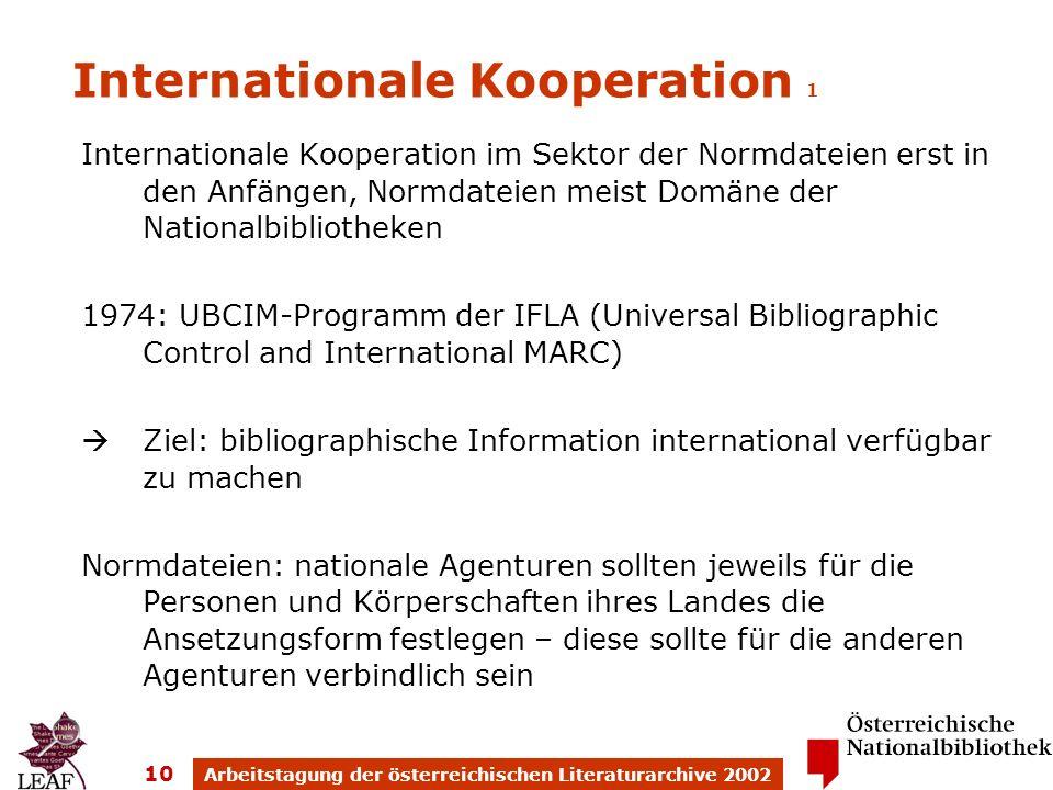 Arbeitstagung der österreichischen Literaturarchive 2002 10 Internationale Kooperation 1 Internationale Kooperation im Sektor der Normdateien erst in
