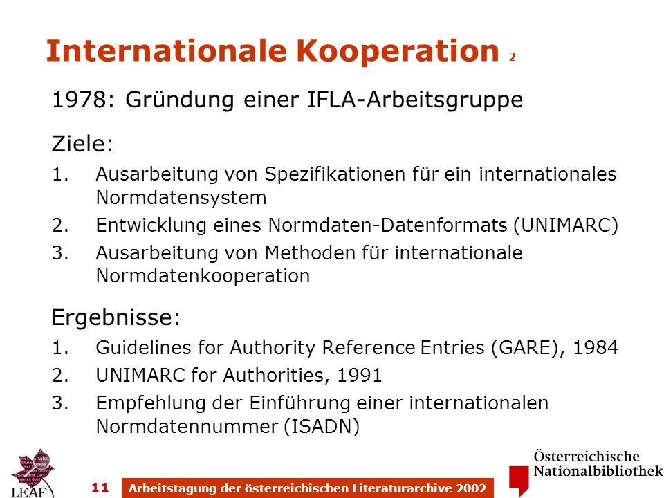 Arbeitstagung der österreichischen Literaturarchive 2002 11 Internationale Kooperation 2 1978: Gründung einer IFLA-Arbeitsgruppe Ziele: 1.Ausarbeitung