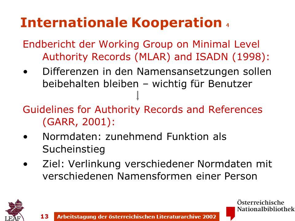 Arbeitstagung der österreichischen Literaturarchive 2002 13 Internationale Kooperation 4 Endbericht der Working Group on Minimal Level Authority Recor