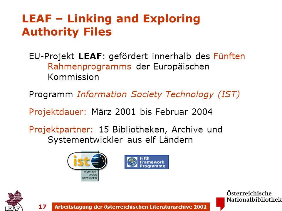 Arbeitstagung der österreichischen Literaturarchive 2002 17 EU-Projekt LEAF: gefördert innerhalb des Fünften Rahmenprogramms der Europäischen Kommissi