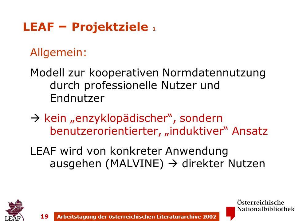 Arbeitstagung der österreichischen Literaturarchive 2002 19 Allgemein: Modell zur kooperativen Normdatennutzung durch professionelle Nutzer und Endnutzer kein enzyklopädischer, sondern benutzerorientierter, induktiver Ansatz LEAF wird von konkreter Anwendung ausgehen (MALVINE) direkter Nutzen LEAF – Projektziele 1