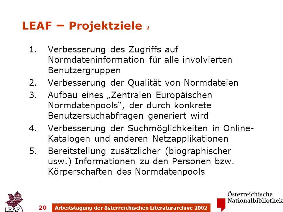 Arbeitstagung der österreichischen Literaturarchive 2002 20 1.Verbesserung des Zugriffs auf Normdateninformation für alle involvierten Benutzergruppen