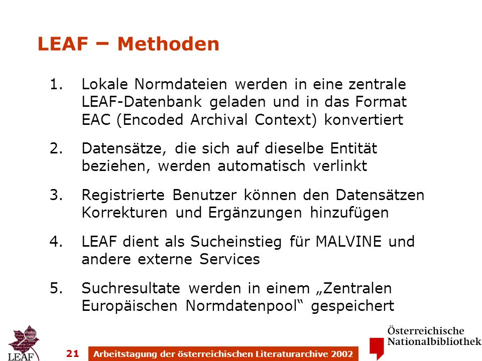 Arbeitstagung der österreichischen Literaturarchive 2002 21 1.Lokale Normdateien werden in eine zentrale LEAF-Datenbank geladen und in das Format EAC (Encoded Archival Context) konvertiert 2.Datensätze, die sich auf dieselbe Entität beziehen, werden automatisch verlinkt 3.Registrierte Benutzer können den Datensätzen Korrekturen und Ergänzungen hinzufügen 4.LEAF dient als Sucheinstieg für MALVINE und andere externe Services 5.Suchresultate werden in einem Zentralen Europäischen Normdatenpool gespeichert LEAF – Methoden