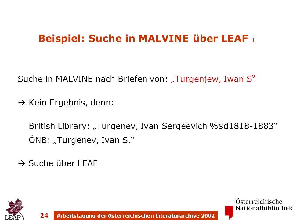 Arbeitstagung der österreichischen Literaturarchive 2002 24 Beispiel: Suche in MALVINE über LEAF 1 Suche in MALVINE nach Briefen von: Turgenjew, Iwan