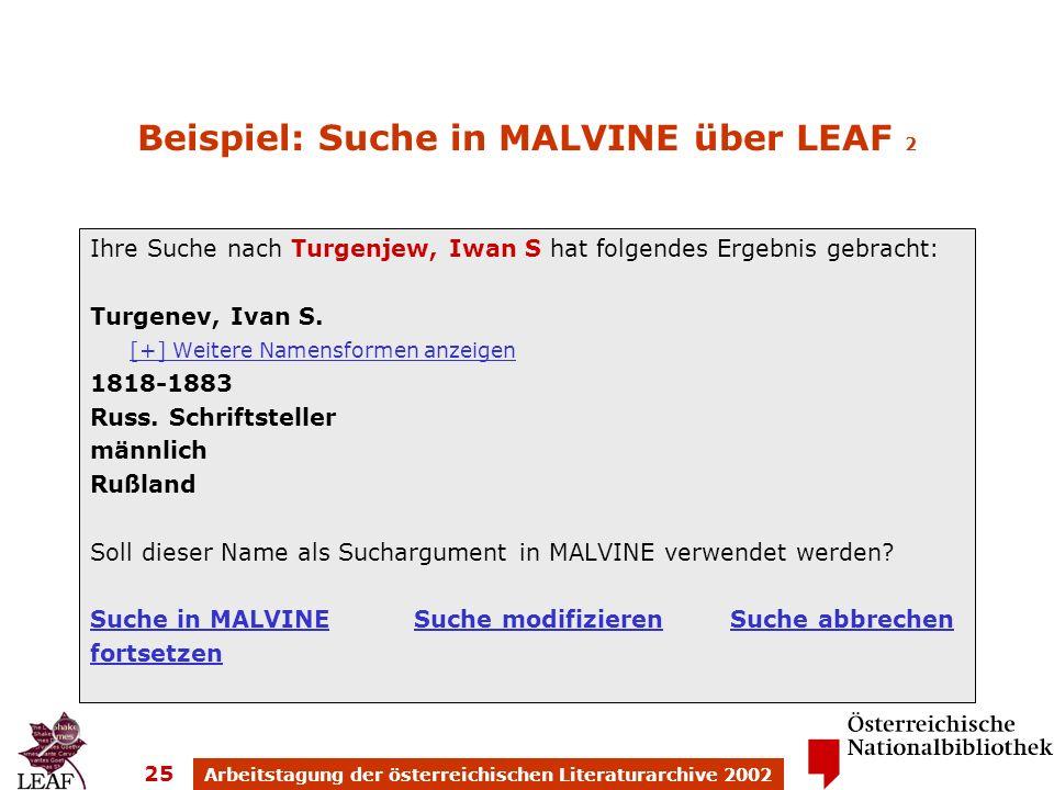 Arbeitstagung der österreichischen Literaturarchive 2002 25 Beispiel: Suche in MALVINE über LEAF 2 Ihre Suche nach Turgenjew, Iwan S hat folgendes Ergebnis gebracht: Turgenev, Ivan S.