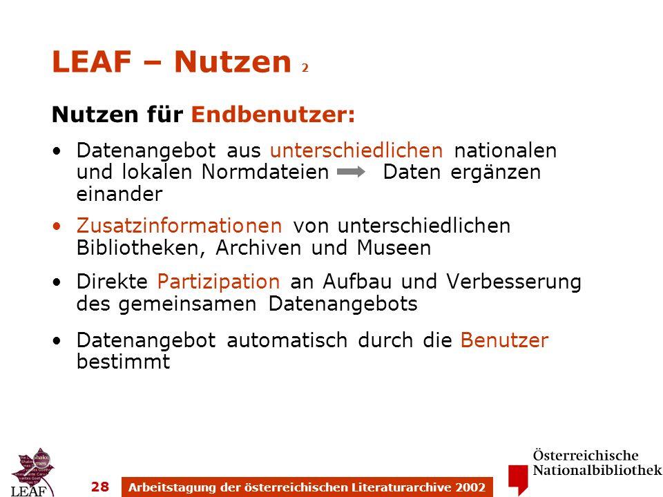 Arbeitstagung der österreichischen Literaturarchive 2002 28 LEAF – Nutzen 2 Nutzen für Endbenutzer: Datenangebot aus unterschiedlichen nationalen und