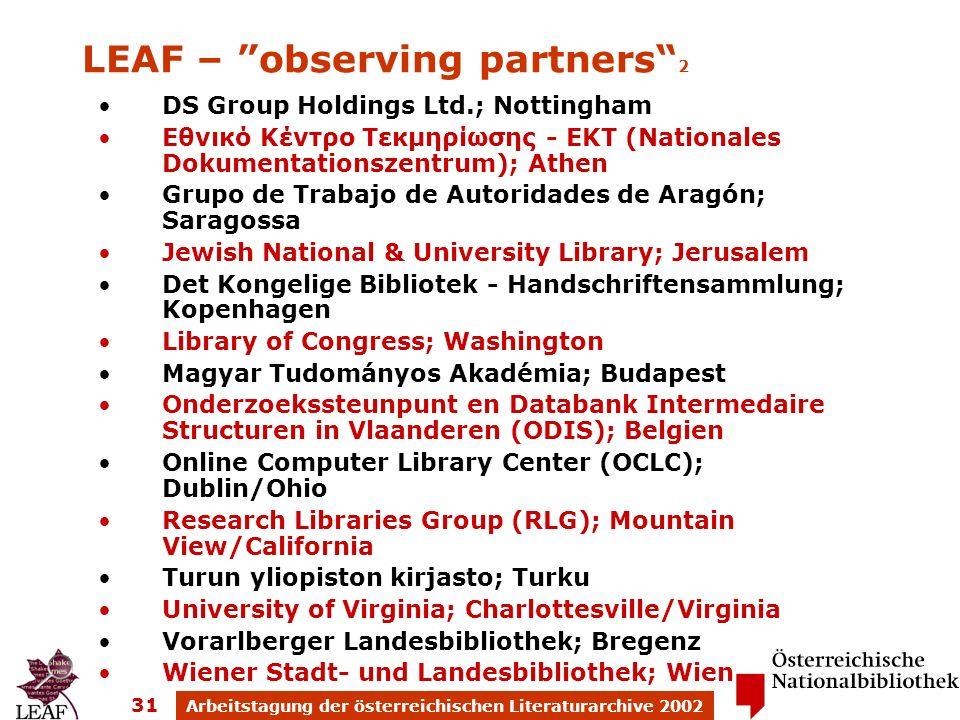 Arbeitstagung der österreichischen Literaturarchive 2002 31 DS Group Holdings Ltd.; Nottingham Εθνικό Κέντρο Τεκμηρίωσης - ΕΚΤ (Nationales Dokumentati