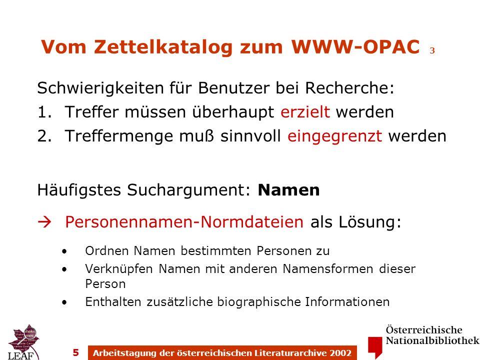 Arbeitstagung der österreichischen Literaturarchive 2002 5 Vom Zettelkatalog zum WWW-OPAC 3 Schwierigkeiten für Benutzer bei Recherche: 1.Treffer müss