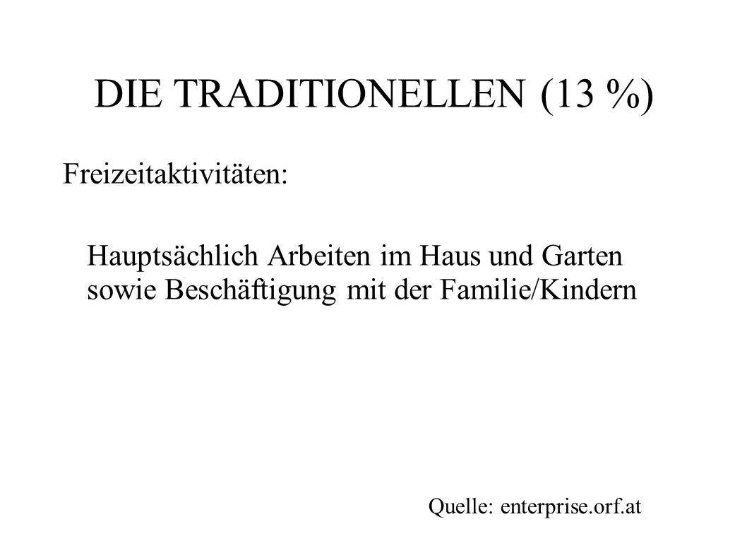 DIE TRADITIONELLEN (13 %) Freizeitaktivitäten: Hauptsächlich Arbeiten im Haus und Garten sowie Beschäftigung mit der Familie/Kindern Quelle: enterpris