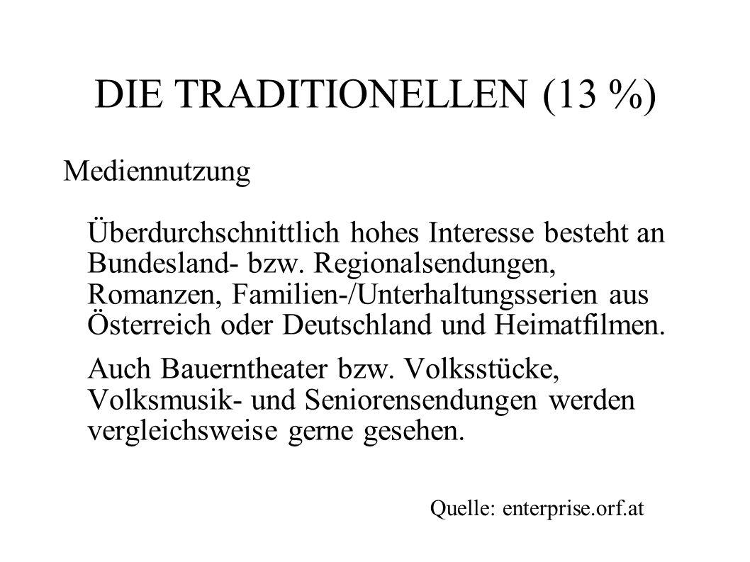 DIE TRADITIONELLEN (13 %) Mediennutzung Überdurchschnittlich hohes Interesse besteht an Bundesland- bzw. Regionalsendungen, Romanzen, Familien-/Unterh