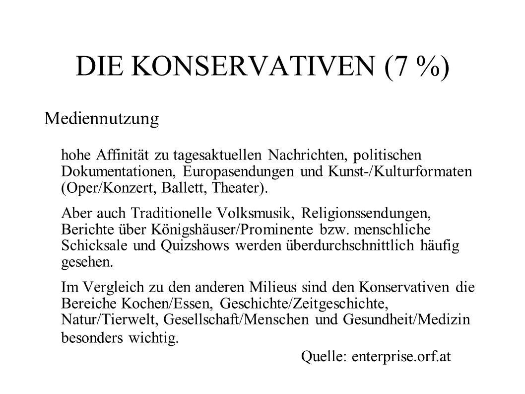 DIE KONSERVATIVEN (7 %) Mediennutzung hohe Affinität zu tagesaktuellen Nachrichten, politischen Dokumentationen, Europasendungen und Kunst-/Kulturform