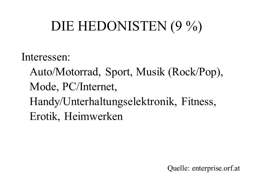 Interessen: Auto/Motorrad, Sport, Musik (Rock/Pop), Mode, PC/Internet, Handy/Unterhaltungselektronik, Fitness, Erotik, Heimwerken DIE HEDONISTEN (9 %)