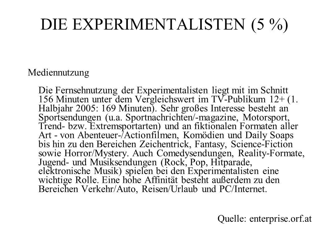 Mediennutzung Die Fernsehnutzung der Experimentalisten liegt mit im Schnitt 156 Minuten unter dem Vergleichswert im TV-Publikum 12+ (1. Halbjahr 2005: