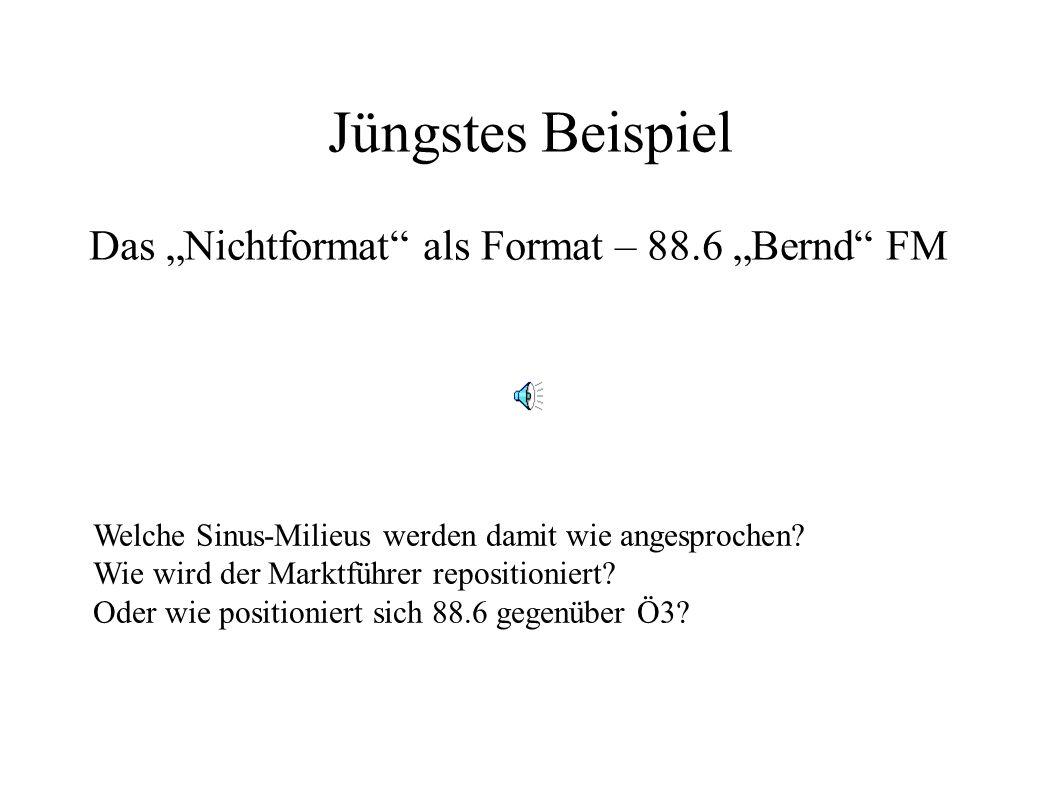 Jüngstes Beispiel Das Nichtformat als Format – 88.6 Bernd FM Welche Sinus-Milieus werden damit wie angesprochen? Wie wird der Marktführer repositionie