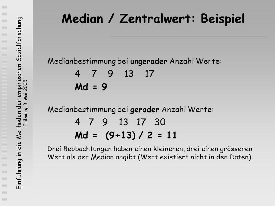 Einführung in die Methoden der empirischen Sozialforschung Fribourg, 3. Mai 2005 Median / Zentralwert: Beispiel Medianbestimmung bei ungerader Anzahl