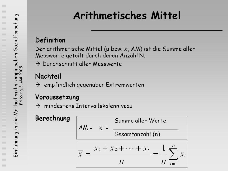 Einführung in die Methoden der empirischen Sozialforschung Fribourg, 3. Mai 2005 Arithmetisches Mittel Definition Der arithmetische Mittel (μ bzw. x,
