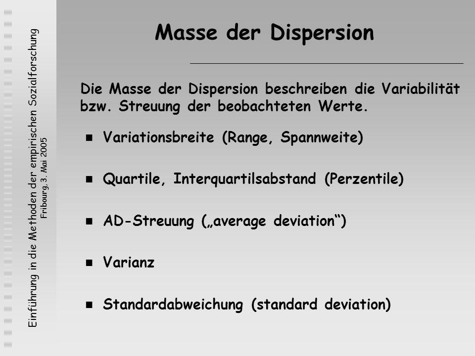 Einführung in die Methoden der empirischen Sozialforschung Fribourg, 3. Mai 2005 Masse der Dispersion Variationsbreite (Range, Spannweite) Quartile, I