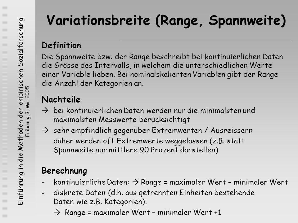 Einführung in die Methoden der empirischen Sozialforschung Fribourg, 3. Mai 2005 Variationsbreite (Range, Spannweite) Definition Die Spannweite bzw. d