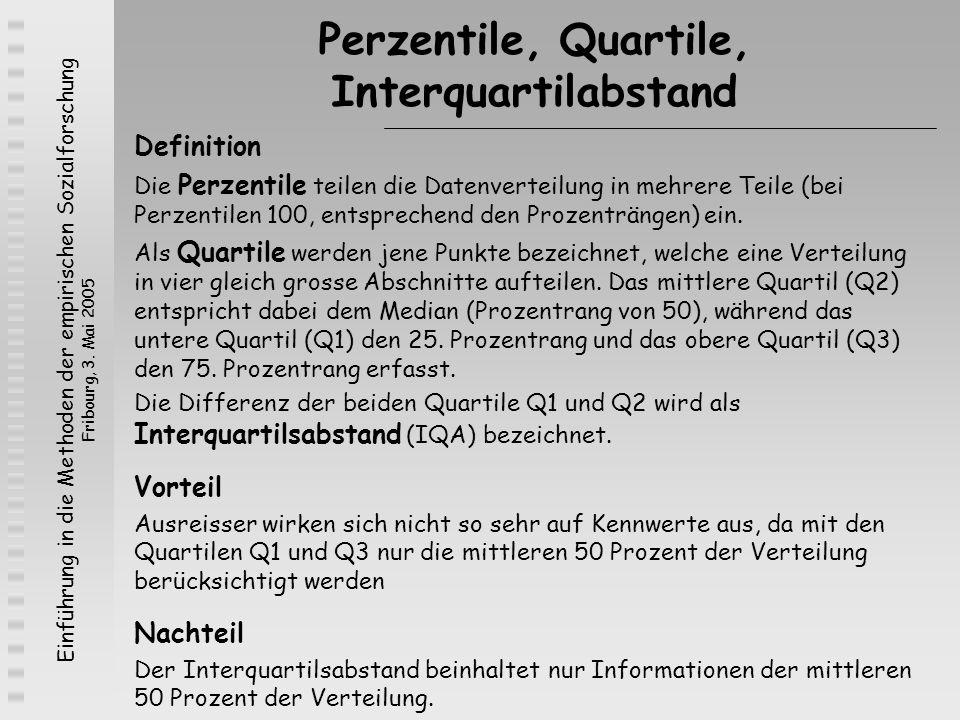 Einführung in die Methoden der empirischen Sozialforschung Fribourg, 3. Mai 2005 Perzentile, Quartile, Interquartilabstand Definition Die Perzentile t
