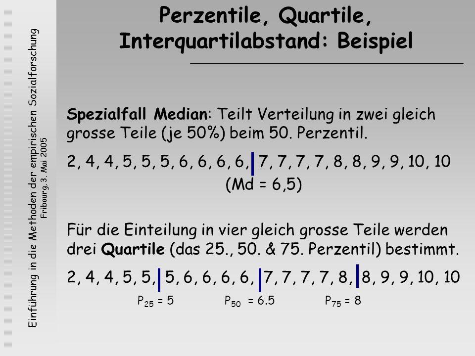 Einführung in die Methoden der empirischen Sozialforschung Fribourg, 3. Mai 2005 Spezialfall Median: Teilt Verteilung in zwei gleich grosse Teile (je