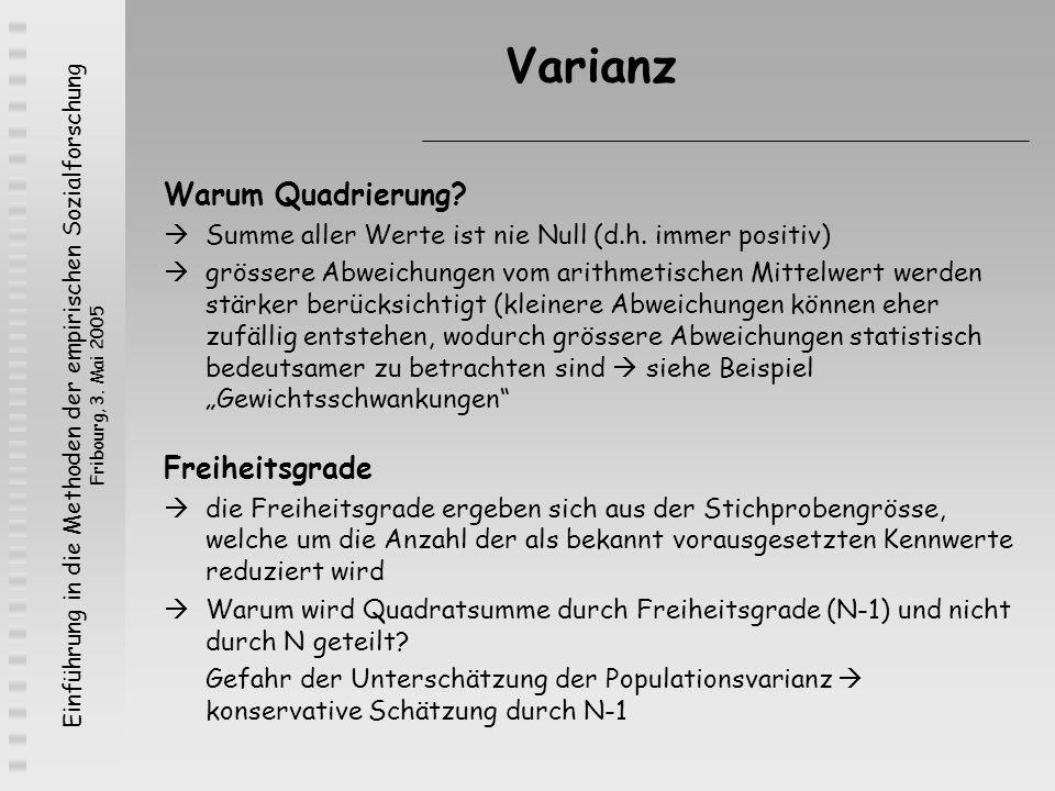 Einführung in die Methoden der empirischen Sozialforschung Fribourg, 3. Mai 2005 Varianz Warum Quadrierung? Summe aller Werte ist nie Null (d.h. immer