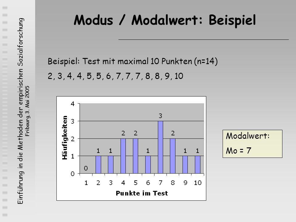 Einführung in die Methoden der empirischen Sozialforschung Fribourg, 3. Mai 2005 Modus / Modalwert: Beispiel Beispiel: Test mit maximal 10 Punkten (n=
