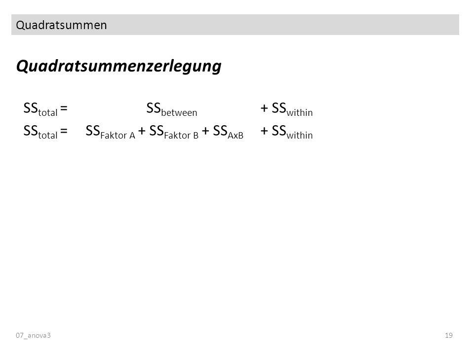 Quadratsummen Quadratsummenzerlegung 07_anova319 SS total = SS between + SS within SS total = SS Faktor A + SS Faktor B + SS AxB + SS within